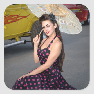 Hot Ride ZZ Rockabilly Hot Rod Vintage Pin Up Girl Square Sticker