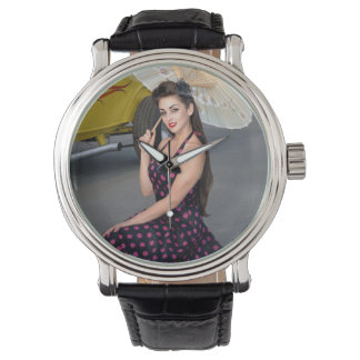 Hot Ride ZZ Rockabilly Hot Rod Vintage Pin Up Girl Watch