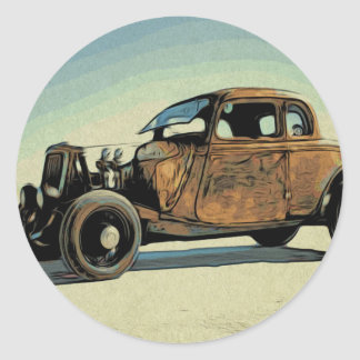 Hot Road Car Classic Round Sticker