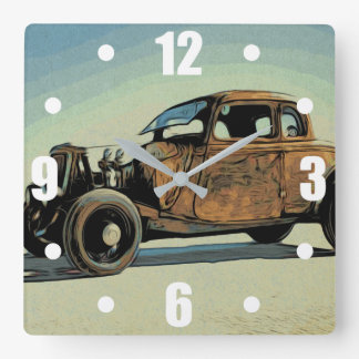 Hot Road Car Square Wall Clock