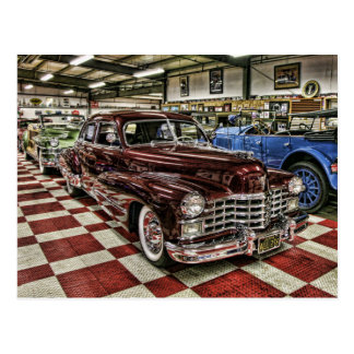 hot rod cadillac classic postcard
