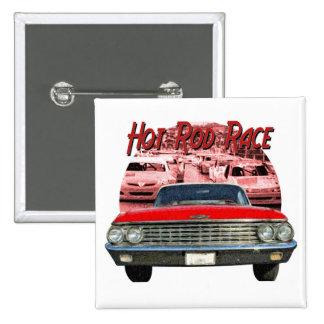 Hot Rod Car 2 Inch Square Button