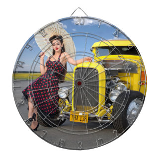Hot Rod Flames Graffiti Vintage Car Pin Up Girl Dartboard