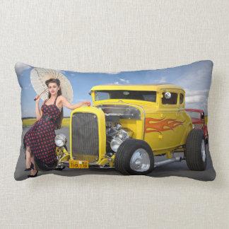 Hot Rod Flames Graffiti Vintage Car Pin Up Girl Lumbar Pillow