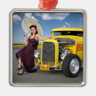 Hot Rod Flames Graffiti Vintage Car Pin Up Girl Metal Ornament