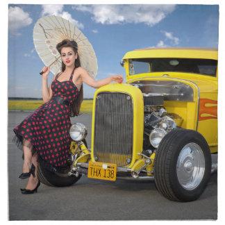 Hot Rod Flames Graffiti Vintage Car Pin Up Girl Napkin