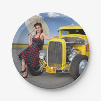 Hot Rod Flames Graffiti Vintage Car Pin Up Girl Paper Plate