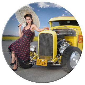 Hot Rod Flames Graffiti Vintage Car Pin Up Girl Plate