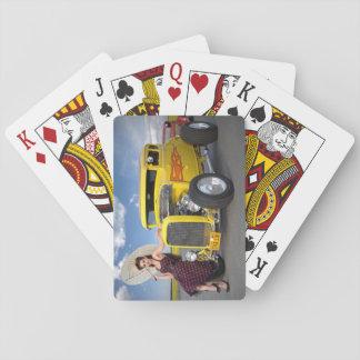 Hot Rod Flames Graffiti Vintage Car Pin Up Girl Playing Cards