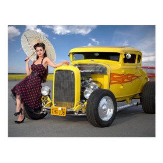 Hot Rod Flames Graffiti Vintage Car Pin Up Girl Postcard