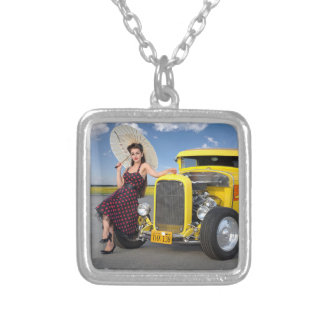 Hot Rod Flames Graffiti Vintage Car Pin Up Girl Silver Plated Necklace