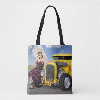 Hot Rod Flames Graffiti Vintage Car Pin Up Girl Tote Bag