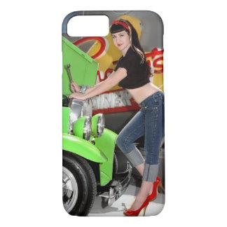 Hot Rod Garage Mechanic Shop Pin Up Car Girl iPhone 8/7 Case