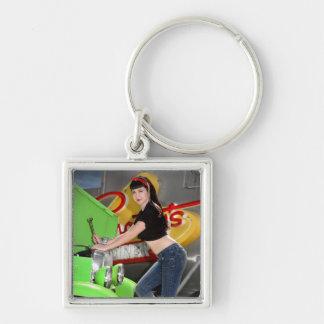 Hot Rod Garage Mechanic Shop Pin Up Car Girl Keychain