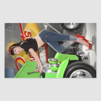 Hot Rod Garage Mechanic Shop Pin Up Car Girl Sticker