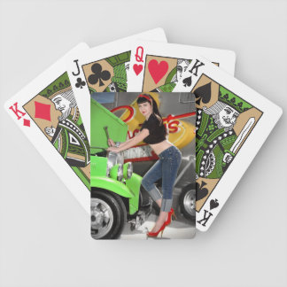 Hot Rod Garage Mechanic Shop Pin Up Girl Bicycle Playing Cards