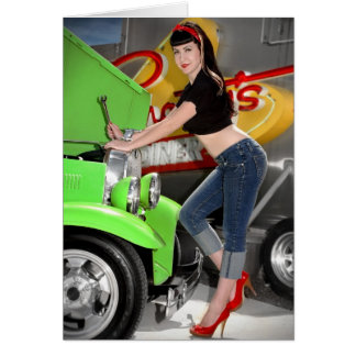 Hot Rod Garage Mechanic Shop Pin Up Girl Card