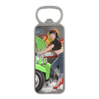 Hot Rod Garage Mechanic Shop Pin Up Girl Magnetic Bottle Opener
