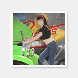 Hot Rod Garage Mechanic Shop Pin Up Girl Paper Napkins