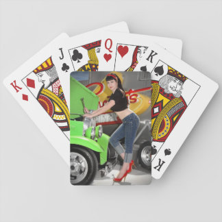 Hot Rod Garage Mechanic Shop Pin Up Girl Playing Cards