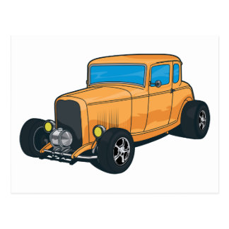Hot Rod Orange Postcard