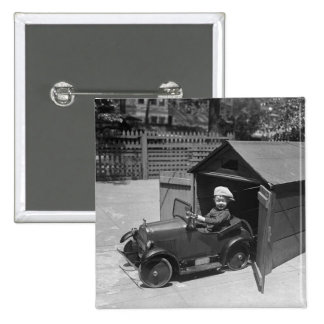 Hot Rod Pedal Car, early 1900s 2 Inch Square Button