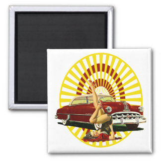 Hot Rod Pin Up Girl Square Magnet
