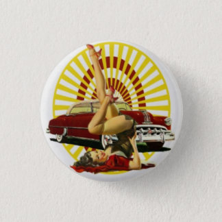 Hot Rod Pinup Girl Button