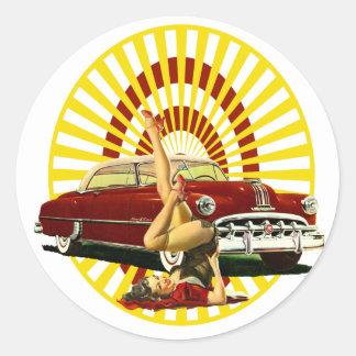 Hot Rod Pinup Girl Round Sticker