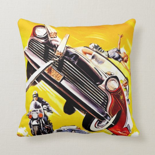 Hot Rod Rumble Throw Pillow