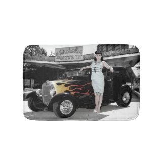 Hot Rod Sedan Flames Vintage Theater Pin Up Girl Bath Mat