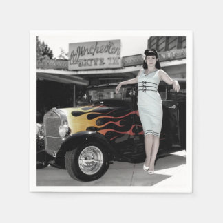 Hot Rod Sedan Flames Vintage Theater Pin Up Girl Disposable Napkin