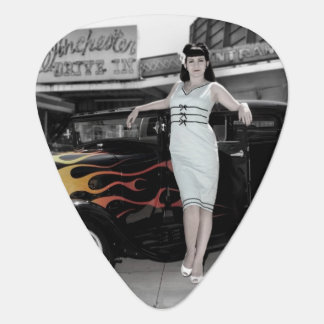 Hot Rod Sedan Flames Vintage Theater Pin Up Girl Guitar Pick