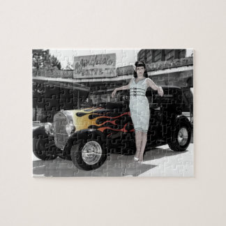 Hot Rod Sedan Flames Vintage Theater Pin Up Girl Jigsaw Puzzle