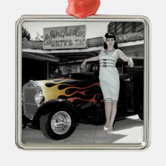 Hot Rod Sedan Flames Vintage Theater Pin Up Girl Metal Ornament
