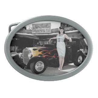 Hot Rod Sedan Flames Vintage Theater Pin Up Girl Oval Belt Buckle