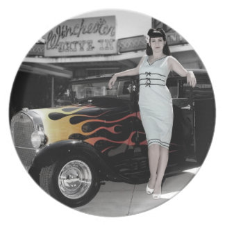 Hot Rod Sedan Flames Vintage Theater Pin Up Girl Plate