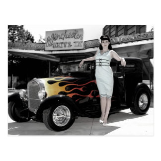 Hot Rod Sedan Flames Vintage Theater Pin Up Girl Postcard