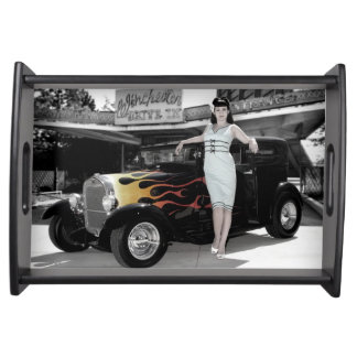 Hot Rod Sedan Flames Vintage Theater Pin Up Girl Serving Tray