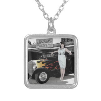 Hot Rod Sedan Flames Vintage Theater Pin Up Girl Silver Plated Necklace