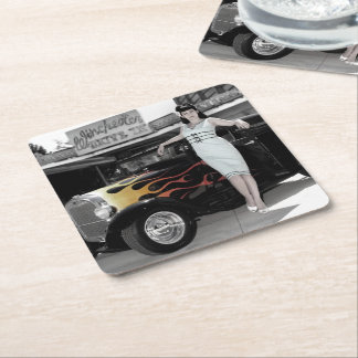 Hot Rod Sedan Flames Vintage Theater Pin Up Girl Square Paper Coaster