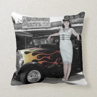 Hot Rod Sedan Flames Vintage Theater Pin Up Girl Throw Pillow
