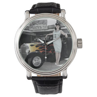 Hot Rod Sedan Flames Vintage Theater Pin Up Girl Watch