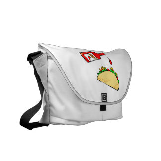 Hot sauce dripping on taco courier bag