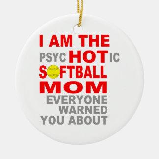 Hot Softball Mom Round Ceramic Ornament