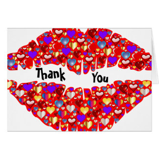 Hot Sparkle Lips Thank you Card