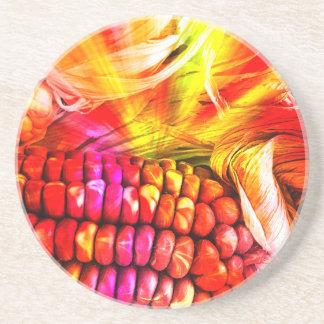 hot striped maize beverage coasters