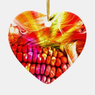 hot striped maize ceramic heart ornament