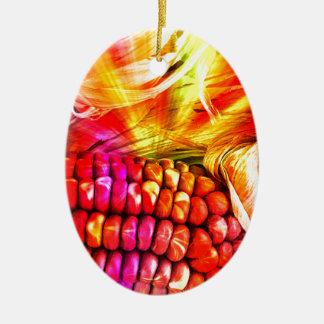 hot striped maize ceramic oval ornament