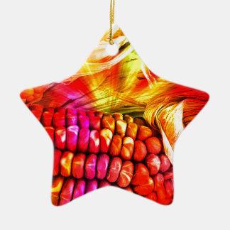 hot striped maize ceramic star ornament